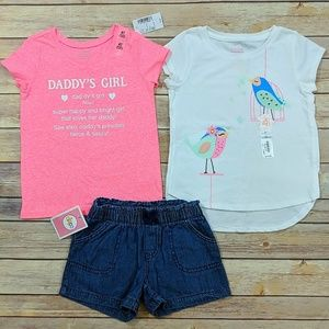 4T Daddy's Girl Top, Bird Shirt, and Shorts NWT